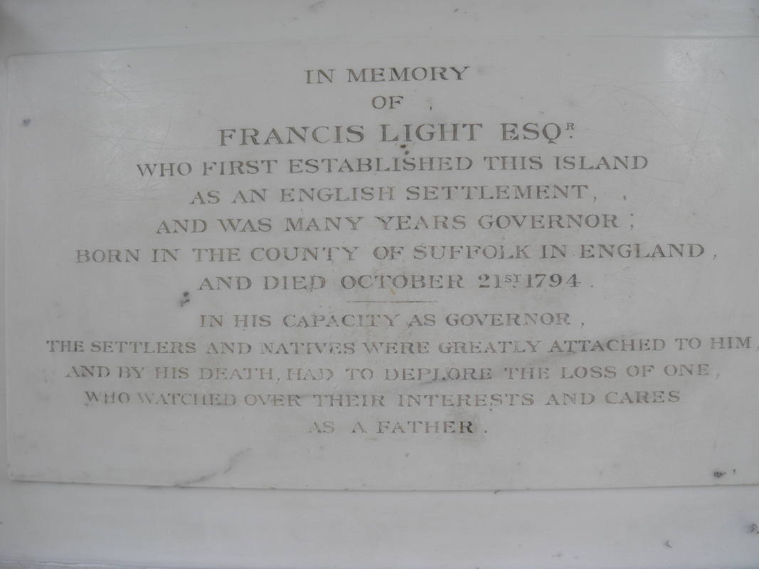 Inscription at the Francis Light Memorial at St. George's Church