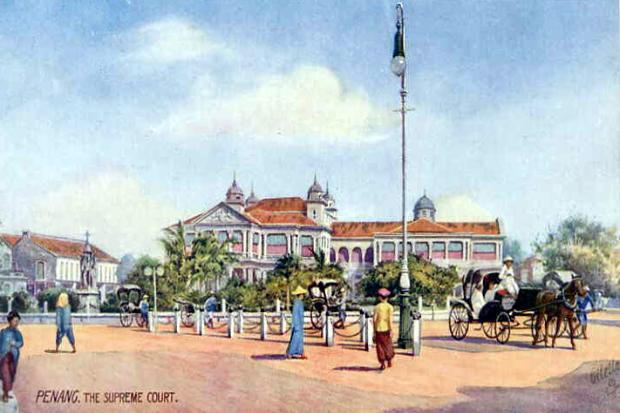 Vintage Postcard of the Supreme Court, Penang